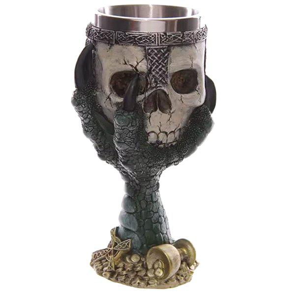 Cool 200ml Goblet Cup Skull Shape Design Stainless Steel Cup - GREEN