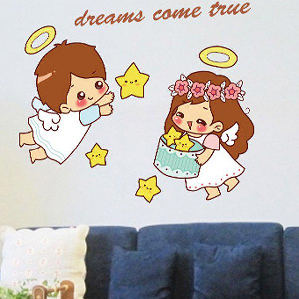High Quality Cartoon Lover Pattern Removeable Decorative Wall Sticker - COLORMIX