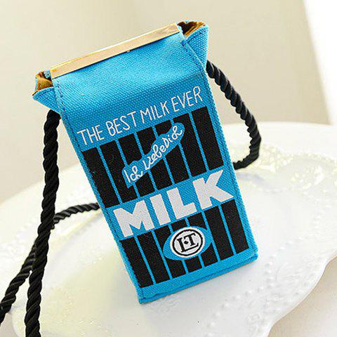 Cute Milk Box Shape and Canvas Design Crossbody Bag For Women - BLUE