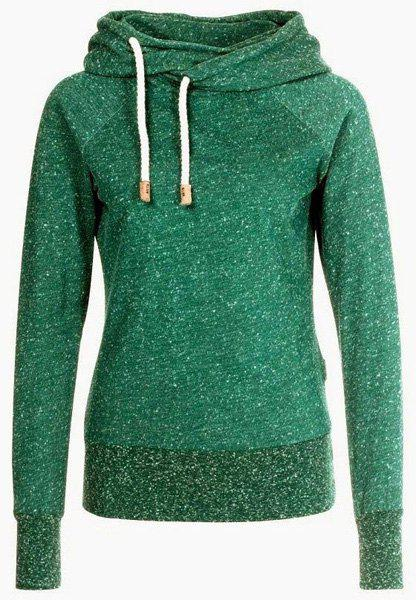 Stylish Hooded Long Sleeve Snow Pattern Hoodie For Women - GREEN S