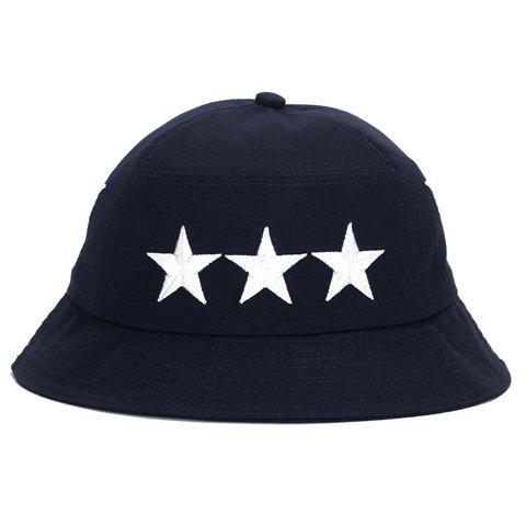 Stylish Five-Pointed Star Embroidery Men's Bucket Hat - PURPLISH BLUE
