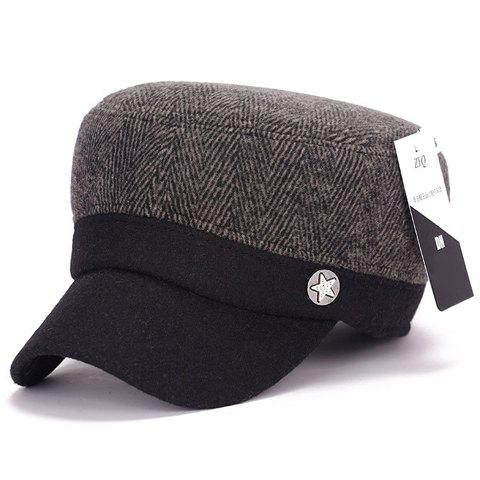 Stylish Star Button Embellished Men's Herringbone Military Hat - BROWN