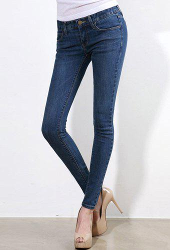 Brief Style Mid Waist Zipper Fly Slimming Solid Color Women's Jeans - DEEP BLUE 29