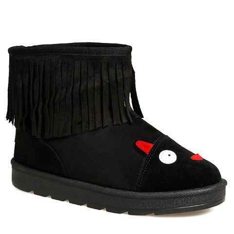 Cute Fringe and Cartoon Pattern Design Women's Snow Boots - BLACK 35