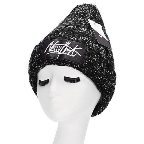 Chic Letter Embroidery PU Label Embellished Women's Thicken Knitted Beanie - BLACK
