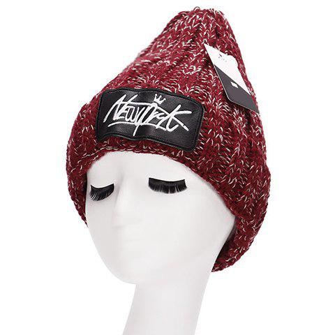 Chic Letter Embroidery PU Label Embellished Women's Thicken Knitted Beanie - WINE RED