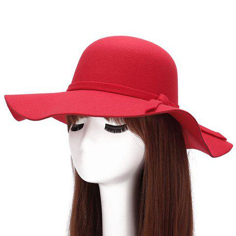 Chic Lace-Up Embellished Bright Color Felt Floppy Hat For Women