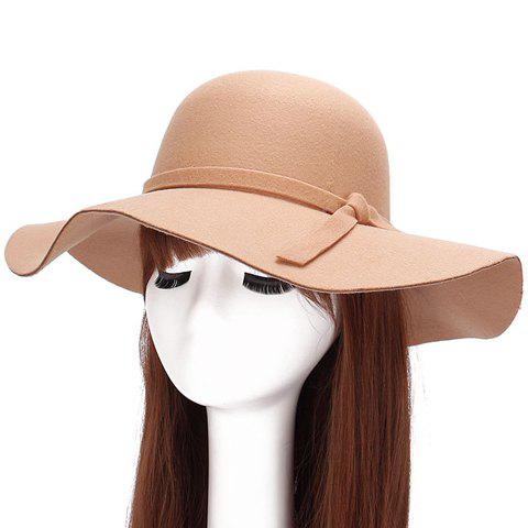 Chic Lace-Up Embellished Bright Color Women's Felt Floppy Hat - CAMEL