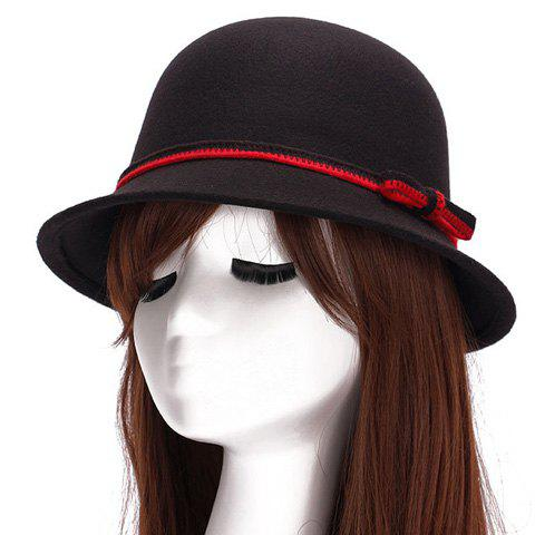 Chic Bicolor Lace-Up Embellished Bright Color Women's Felt Cloche Hat - BLACK