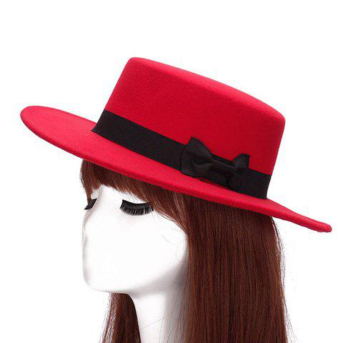 Chic Small Bow Embellished Solid Color Women's Felt Jazz Hat - RED