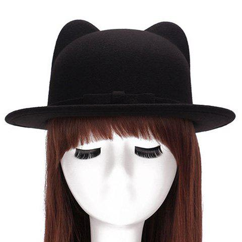 Chic Small Bow Lace-Up Embellished Women's Felt Cat Ear Hat - BLACK