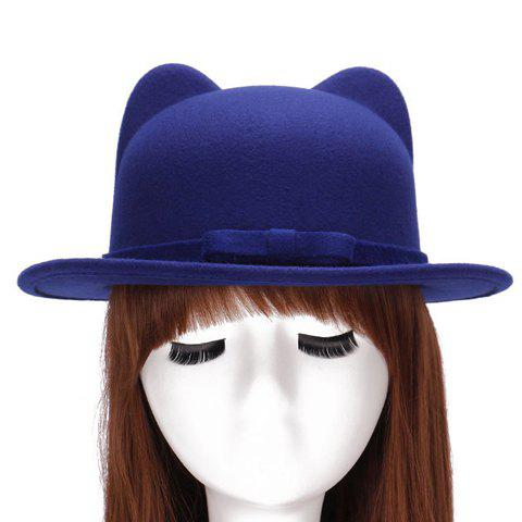 Chic Small Bow Lace-Up Embellished Women's Felt Cat Ear Hat - SAPPHIRE BLUE