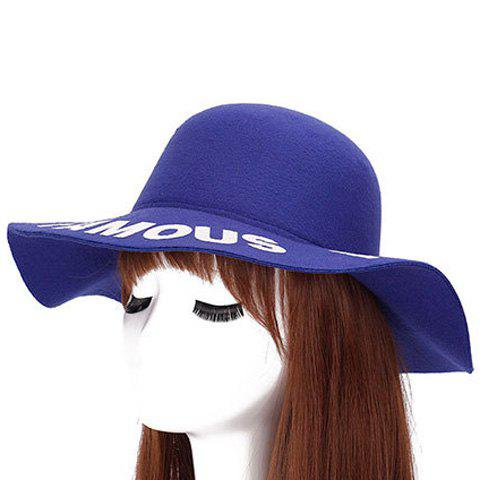 Chic Capital Letters Pattern Brim Round Top Women's Felt Jazz Hat - SAPPHIRE BLUE