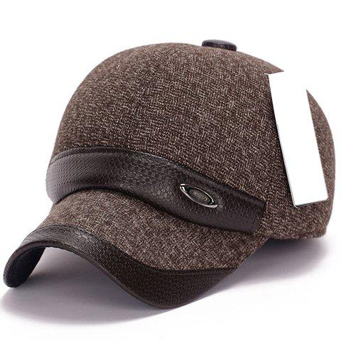 Stylish Label and PU Embellished Men's Winter Baseball Cap - BROWN