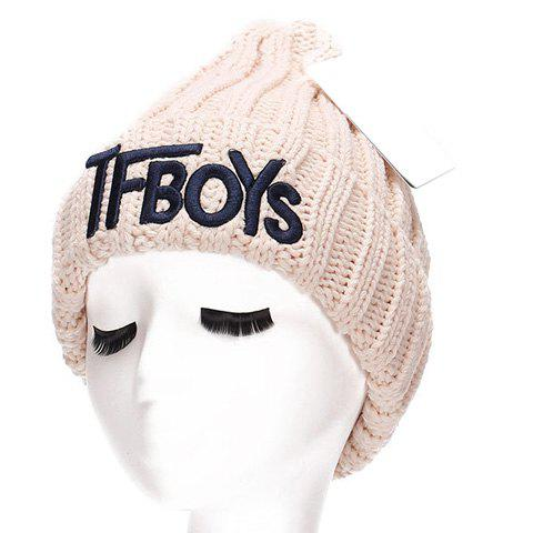 Chic Name Letters Embroidery Women's Thicken Knitted Beanie - OFF WHITE