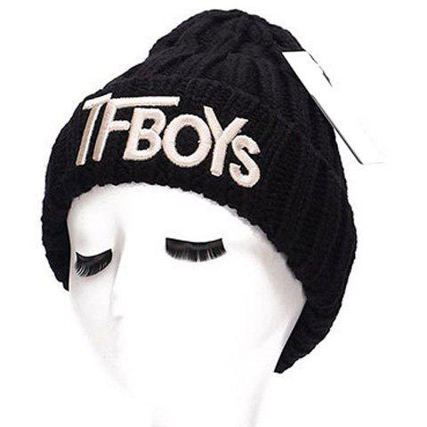Chic Name Letters Embroidery Women's Thicken Knitted Beanie - BLACK