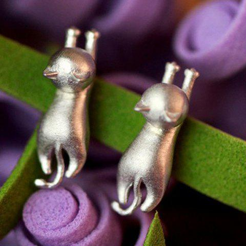 Pair of Sweet Pure Color Kitten Stud Earrings For Women - SILVER