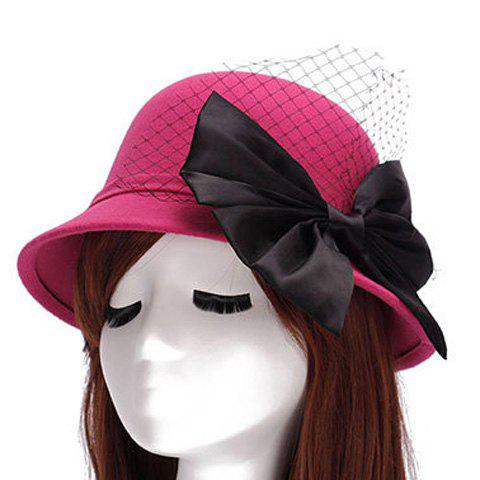 Chic Big Bow and Mesh Yarn Embellished Felt Cloche Hat For Women