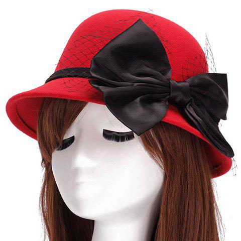 Chic Big Bow and Mesh Yarn Embellished Women's Felt Cloche Hat - RED