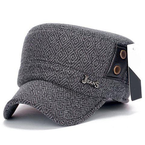 Stylish Button and Label Embellished Men's Winter Rhombus Military Hat - LIGHT GRAY