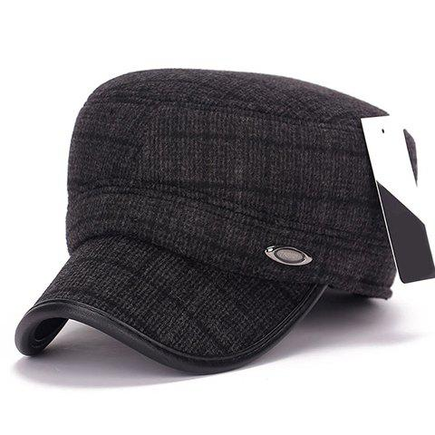 Stylish Label Embellished Men's Winter Checked Military Hat - DEEP GRAY