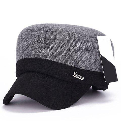 Stylish Label Embellished Men's Winter Gingham Military Hat - LIGHT GRAY