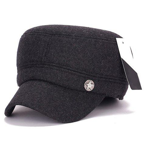 Stylish Star Button Embellished Men's Winter Military Hat - DEEP GRAY