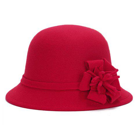 Chic Flower Shape Embellished Bright Color Women's Felt Cloche Hat - RED