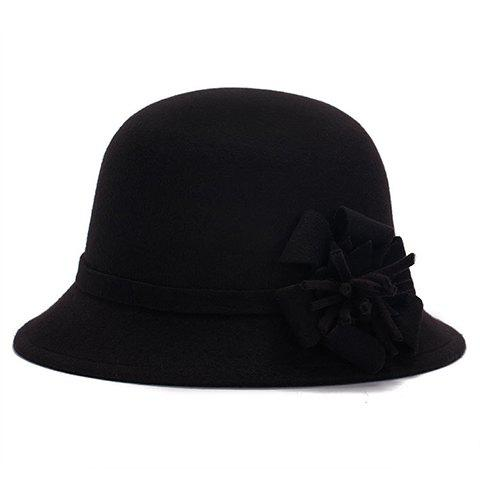 Chic Flower Shape Embellished Bright Color Women's Felt Cloche Hat - BLACK