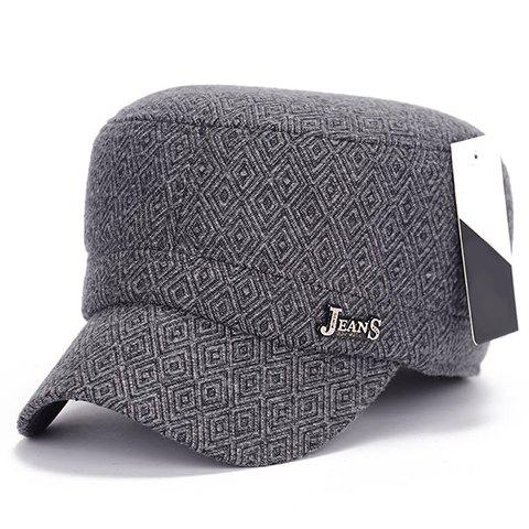 Stylish Label Embellished Winter Rhombus Military Hat For Men - LIGHT GRAY