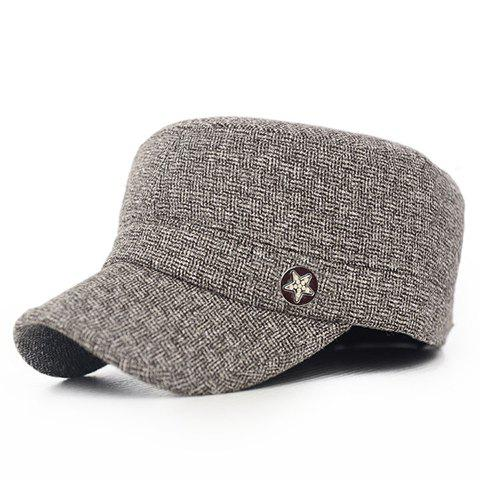 Stylish Five-Pointed Star Button Embellished Men's Winter Military Hat - KHAKI