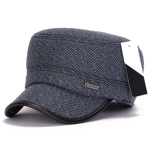 Stylish Letter Label Embellished Winter Twill Military Hat For Men -  BLUE