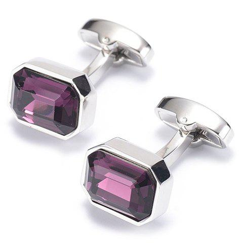 Pair of Stylish Faux Amethyst Inlay Men's Jewelry Cufflinks - PURPLE