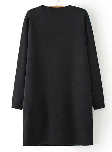 Casual Women's Jewel Neck Long Sleeve Flocking Letter Pattern Dress - BLACK ONE SIZE(FIT SIZE XS TO M)
