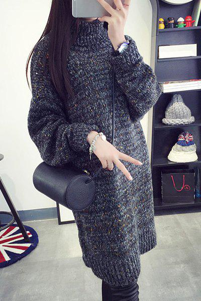 Stylish Women's Long Sleeves Turtleneck Sweater Dress - DEEP GRAY ONE SIZE(FIT SIZE XS TO M)