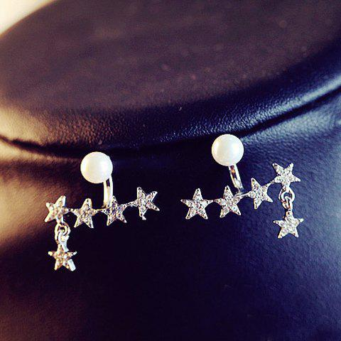 Pair of Chic Faux Pearl Star Shape Earrings For Women - WHITE GOLDEN