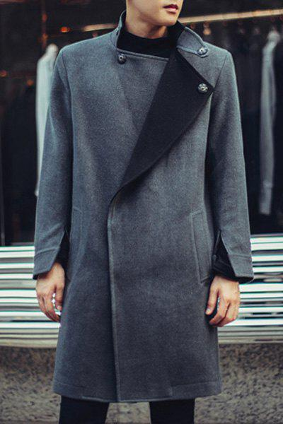 Turn-Down Collar Color Block Lining Long Sleeve Lengthen Men's Coat