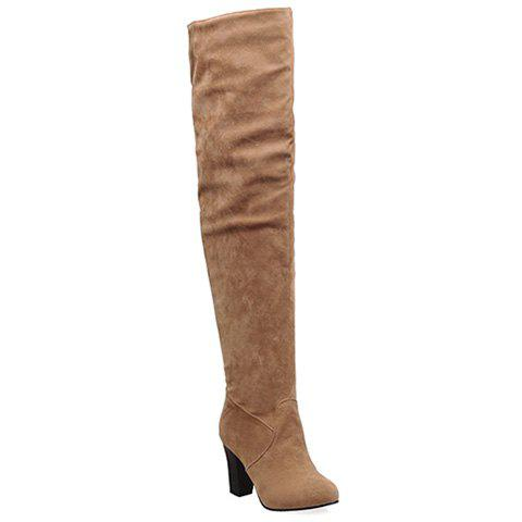 Simple Suede and Solid Color Design Thigh Boots For Women - BROWN 37