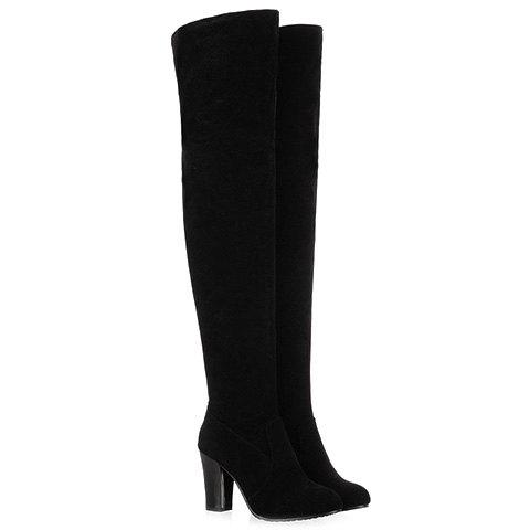 Simple Suede and Solid Color Design Thigh Boots For Women - BLACK 37