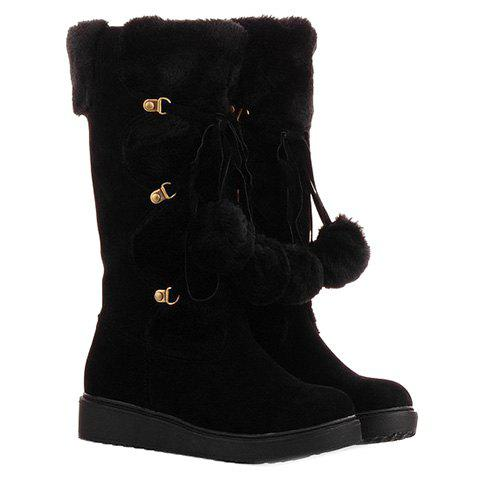 Sweet Pompons and Suede Design Snow Boots For Women