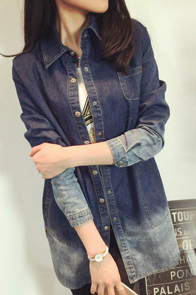 Brief Ombre Polo Collar Long Sleeve Denim Blouse For Women - BLUE S