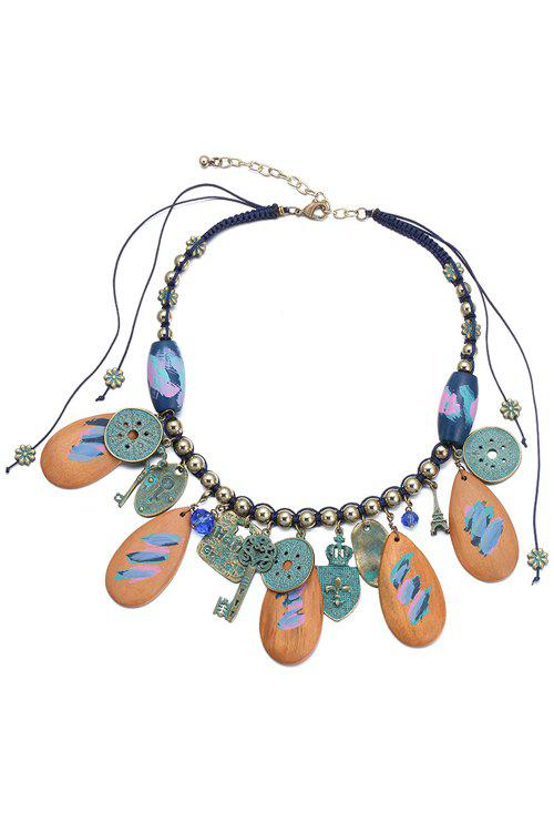 Chic Key Pendant Statement Necklace For Women - BROWN