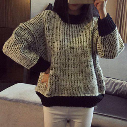 Long Sleeve Jewel Neck Sweater For Women - BLACK ONE SIZE(FIT SIZE XS TO M)