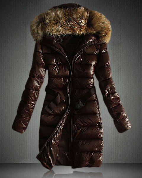 Faux Fur Hooded Puffer Jacket - BROWN M