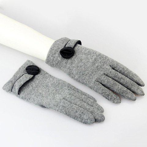 Pair of Chic Flower Embellished Women's Gloves - GRAY