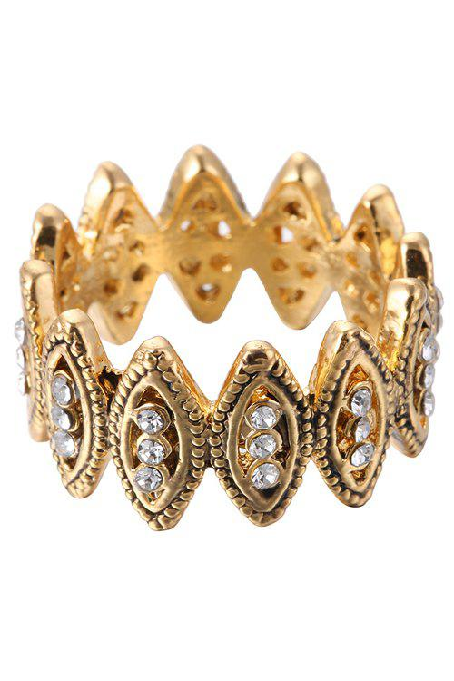 Chic Rhinestone Hollow Out Ring For Women - GOLDEN
