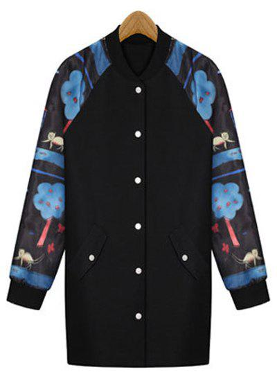 Stylish Stand-Up Collar Long Sleeve Single-Breasted Printed Women's Coat - BLUE 3XL