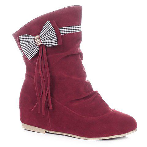 Fashionable Bowknot and Fringe Design Short Boots For Women