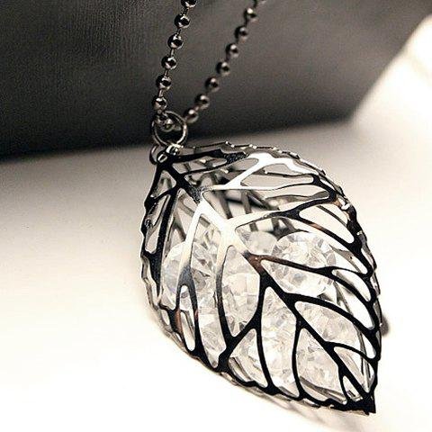 Faux Crystal Hollowed Leaf Sweater Chain - SILVER