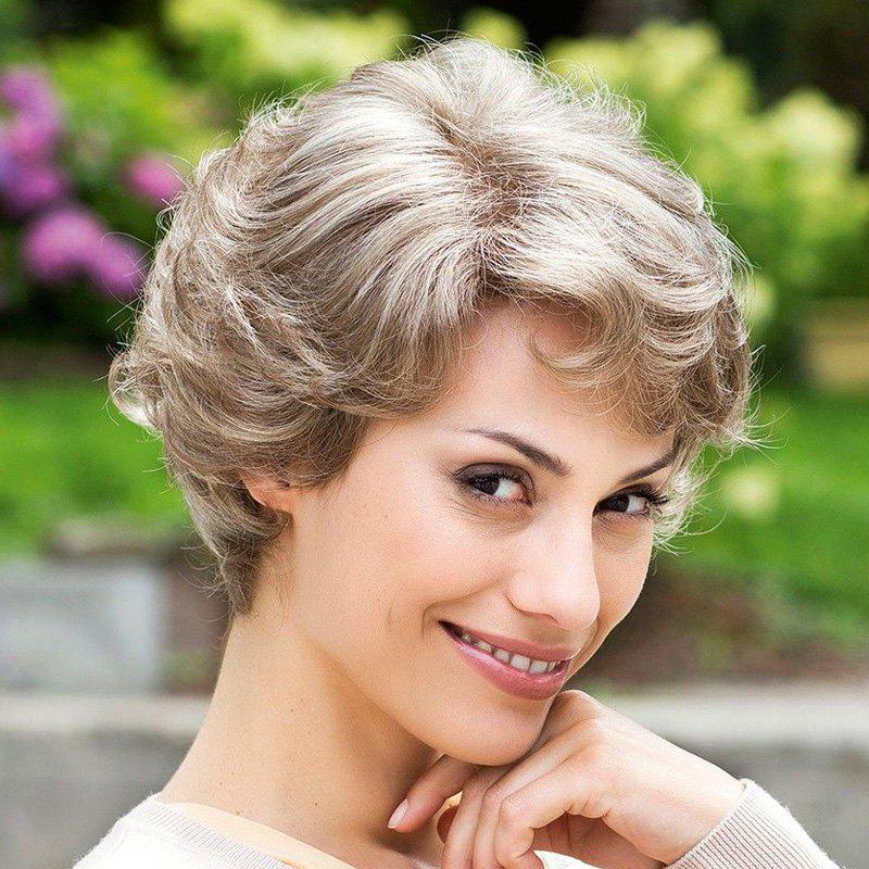 Fluffy Curly Elegant Short Side Bang Capless Trendy Golden Gray Women's Synthetic Wig - COLORMIX